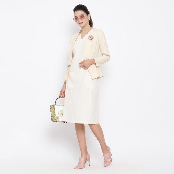 Buy Off White Silk Linen Jacket With Fringes Western Formals For Women