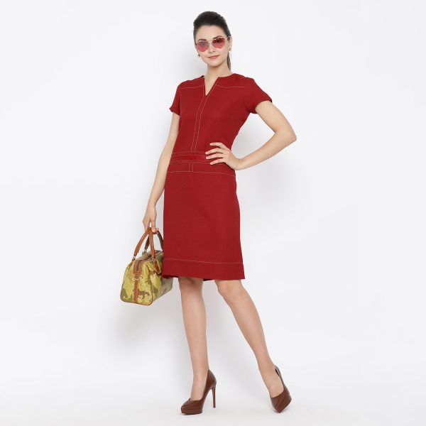 Buy Red silk linen tunic with beige top stitch Power Dressing - Office & You