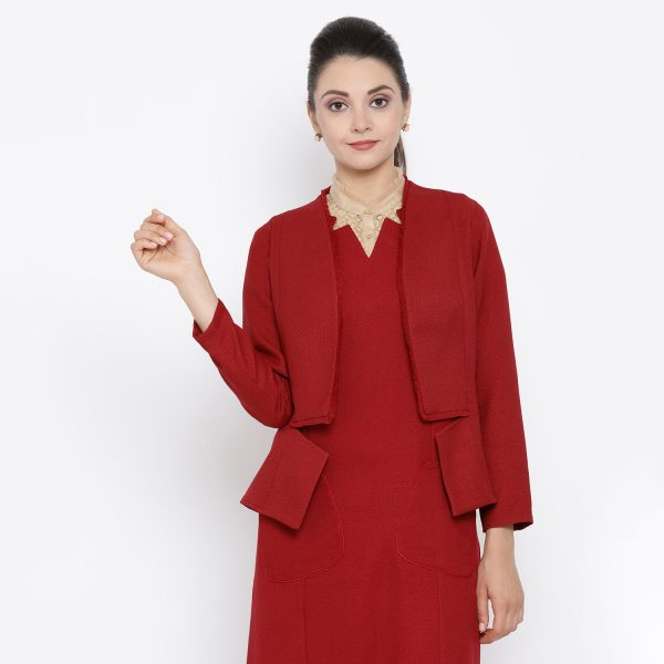 Buy Red silk linen work wear jacket with fringes For Women - Office & You