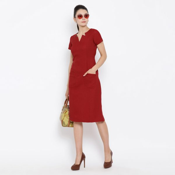Buy Red Silk Linen Tunic With Side Pocket Work Wear For Women
