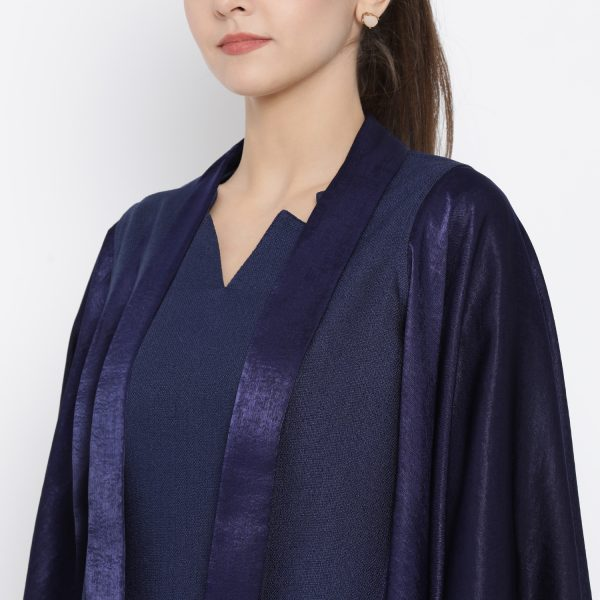 Buy Blue silk linen cape jacket Western Formals For Women - Office and You