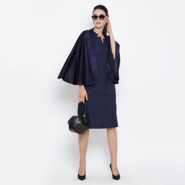 Buy Blue silk linen cape jacket Western Formals For Women - Office & You