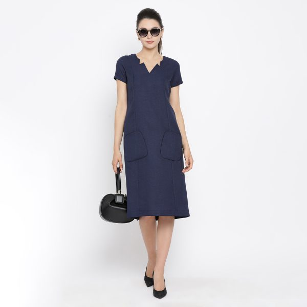 Buy Blue Silk Linen Tunic With Side Pocket Office Wear For Women