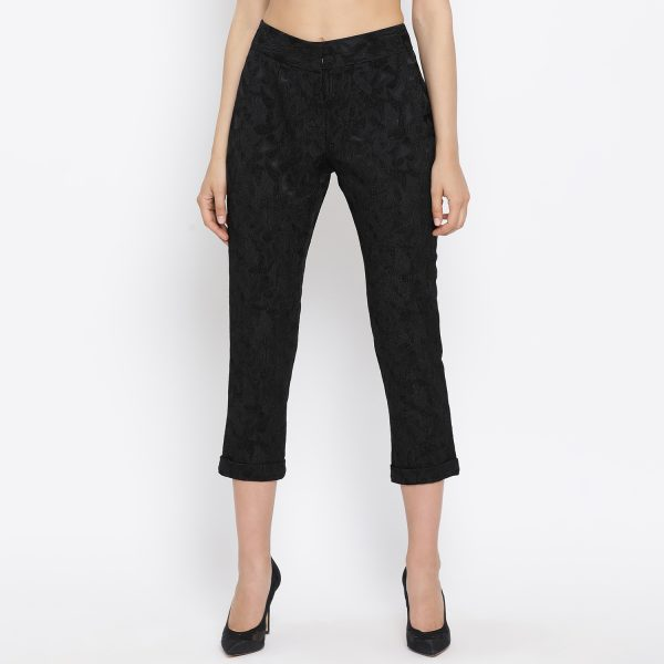 Buy Black straight pant with turnup Work Wear For Women - Office & You