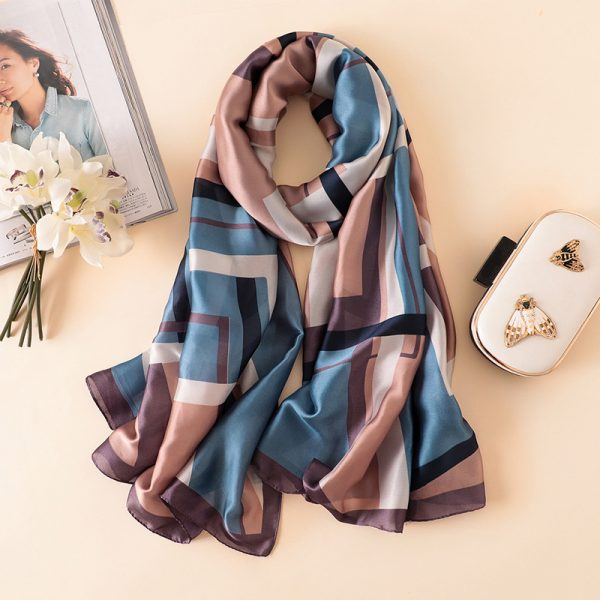 Buy Beige and blue abstract printed silk scarf Work Wear For Women - Office & You