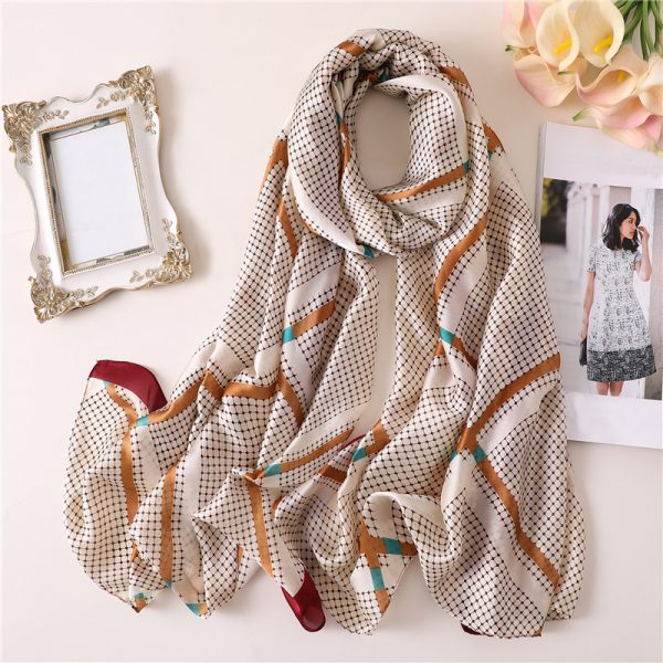 Buy White mesh printed silk scarf Office Wear For Women - Office & You
