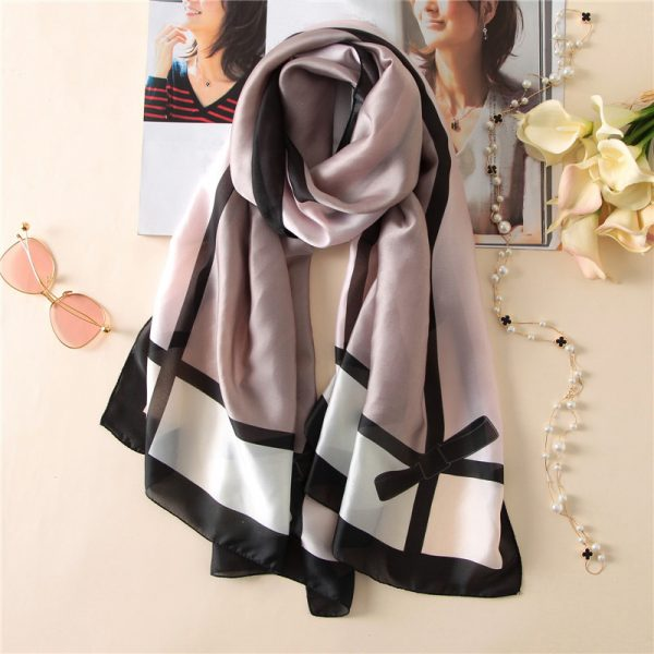 Buy Grey and black square printed silk scarf Office Wear - Office & You