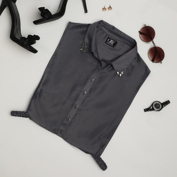 Buy Dark grey false collar with crystal For Women - Office & You