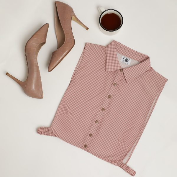 Buy Pink small check false collar Power Dressing For Women - Office & You
