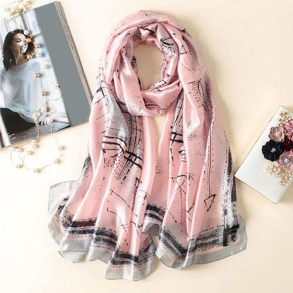 Pink and Grey printed silk scarf Office Wear For Women From Office & You