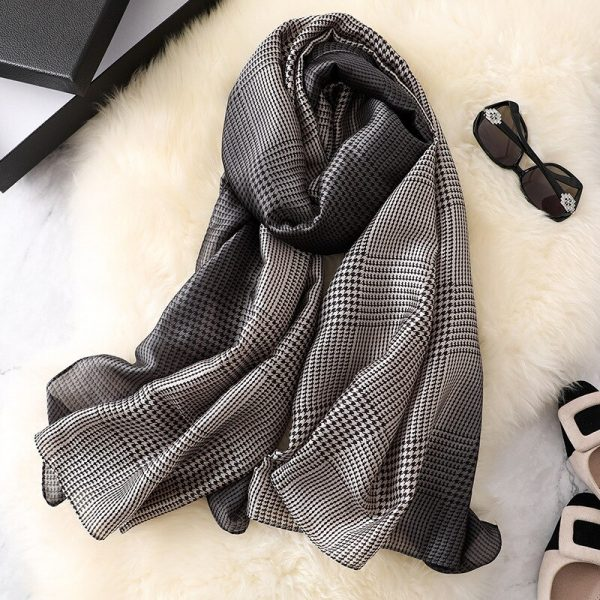 Buy Black And White Check Print Silk Scarf Western Formals For Women