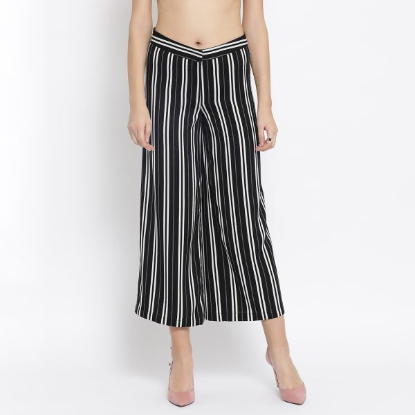 Buy Black And White Stripe Crepe Trouser Western Formals For Women