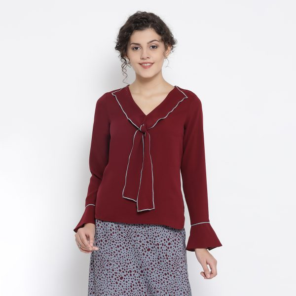 Buy Maroon Georgette Drape Neck Top Office Wear For Women