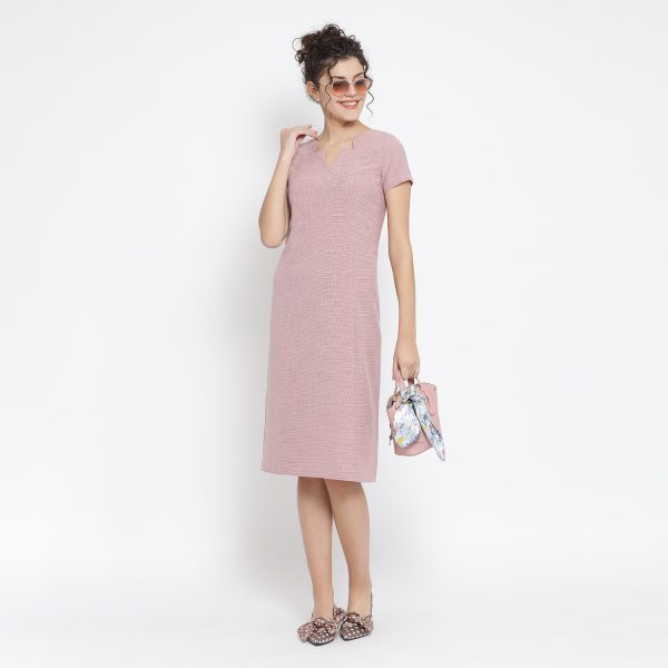 Buy Pink Linen Dress With Star Neck Line Power Dressing For Women