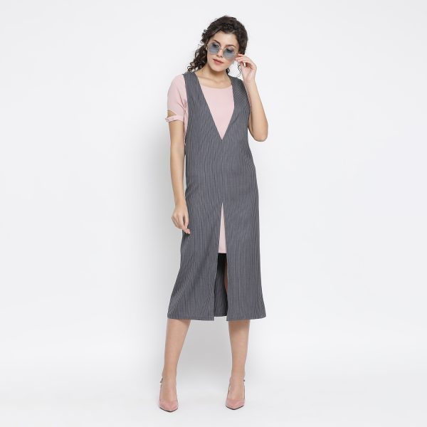 Buy Grey Stripe Dress With Pink Tunic Western Formals For Women