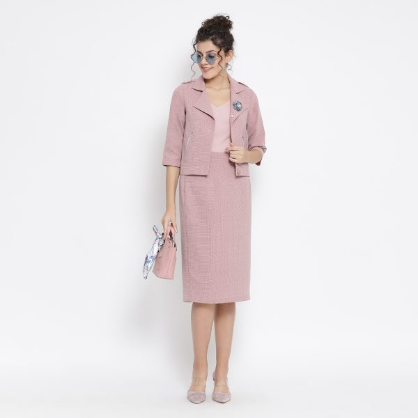 Buy Pink Linen Jacket With Zipper Pocket Work Wear For Women