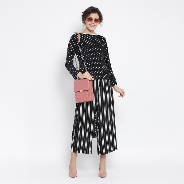 Buy Black And White Polka Dot Tunic Office Wear For Women