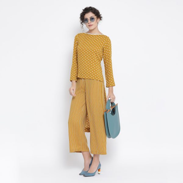 Buy Yellow And White Polka Dot Tunic Power Dressing For Women