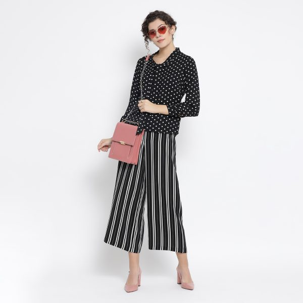 Buy Black And White Polka Top With Tie Knot Work Wear For Women