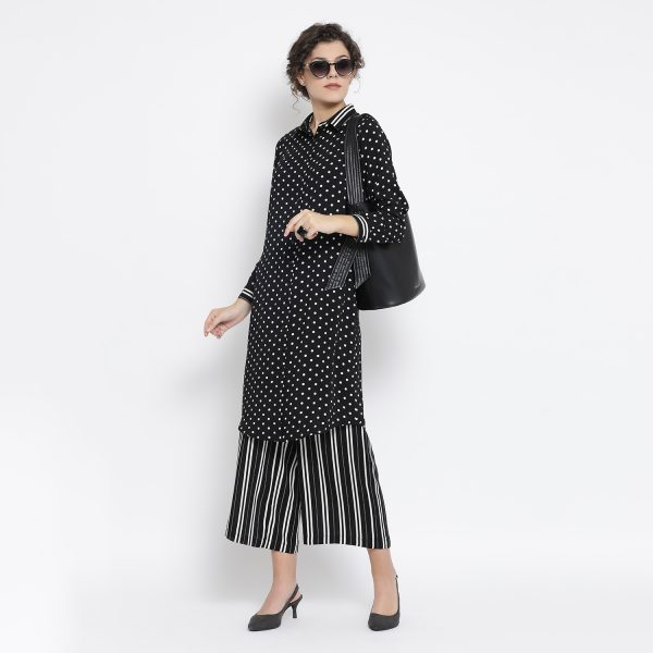 Buy Black And White Polka Tunic With Stripe Cuff Office Wear For Women
