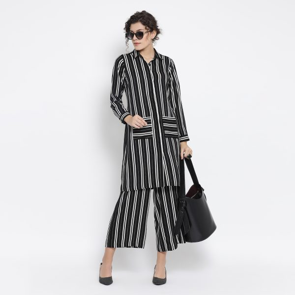 Buy Black And White Stripe Dress With Pocket Office Wear For Women