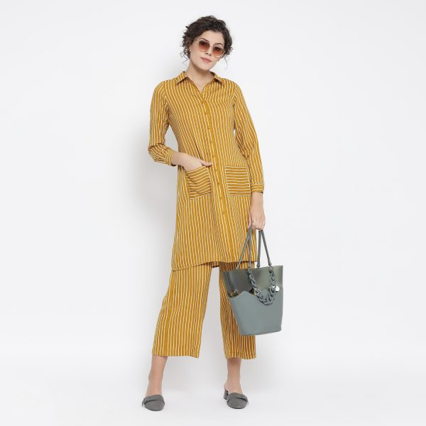Buy Yellow And White Stripe Dress Dressing For Women