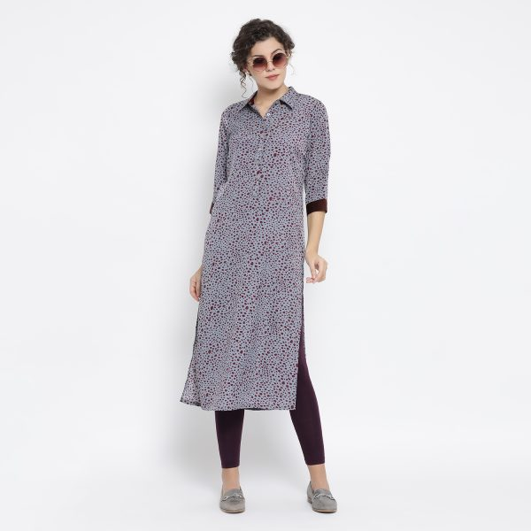 Buy Teal Blue Animal Print Kurta Western Formals For Women