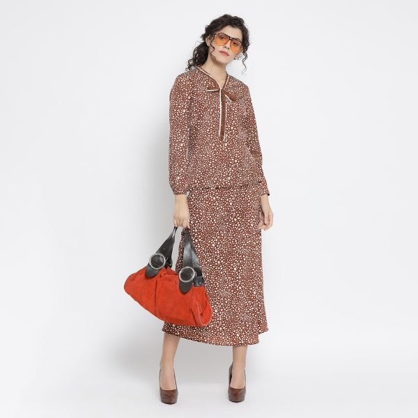 Buy Brown Animal Printed Shirt With French Lace Office Wear For Women