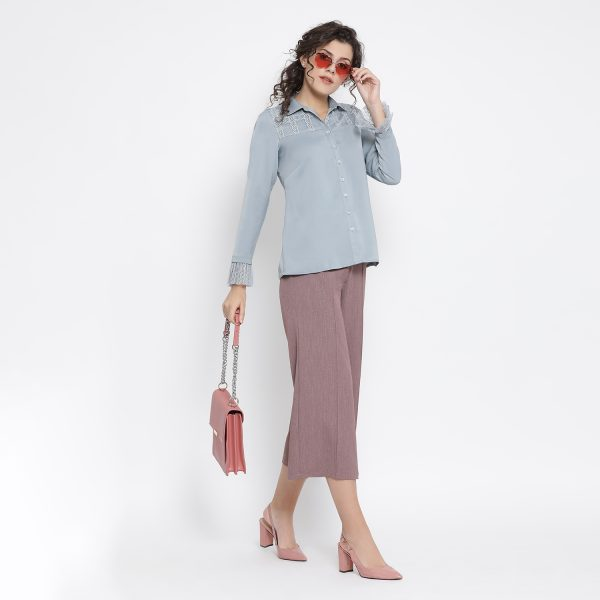 Buy Blue Shirt With French Lace At Yoke Western Formals For Women