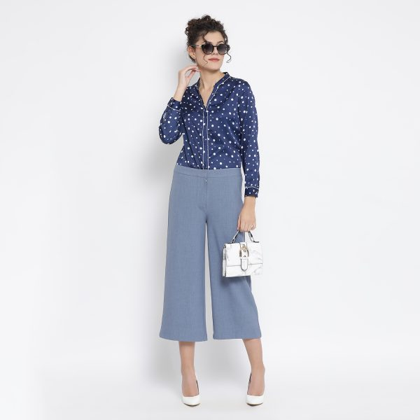 Buy Blue White Silk Polka Top Office Wear For Women