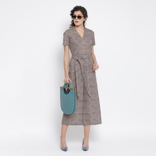 Buy Brown Check Jumpsuit With Belt Knot Work Wear For Women