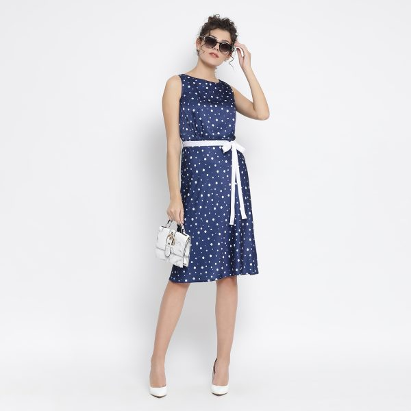Buy Blue White Silk Polka Sleeveless Dress Office Wear For Women