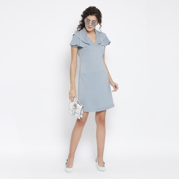 Buy Blue Drape Sleeve Dress Office Wear For Women - Office & You
