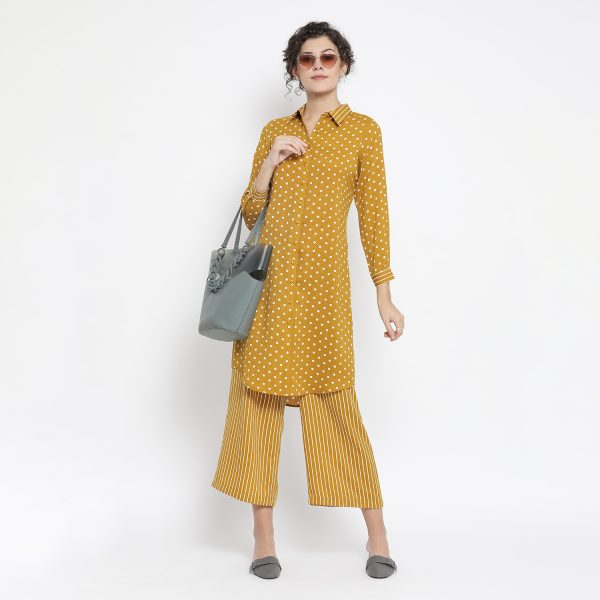 Buy Yellow And White Polka Tunic Power Dressing For Women