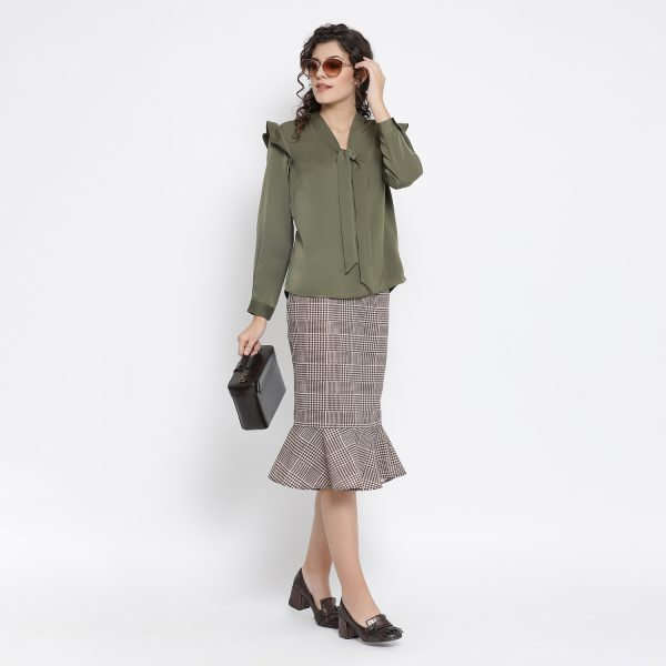 Buy Olive Green Top With Tie Knot Power Dressing For Women