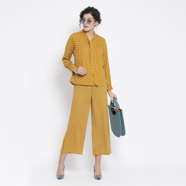 Buy Yellow And White Polka Top Western Formals For Women