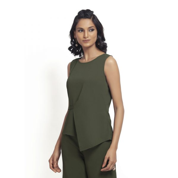 Green Crepe Top With Drape At Waist