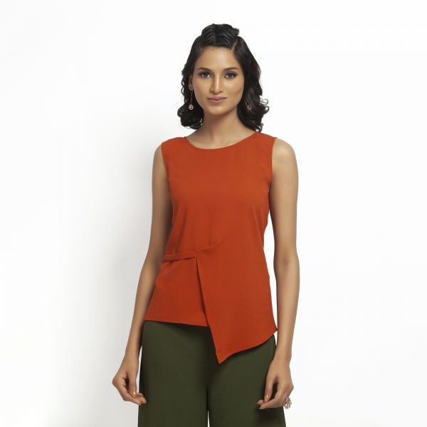 Orange Crepe Top With Drape At Waist