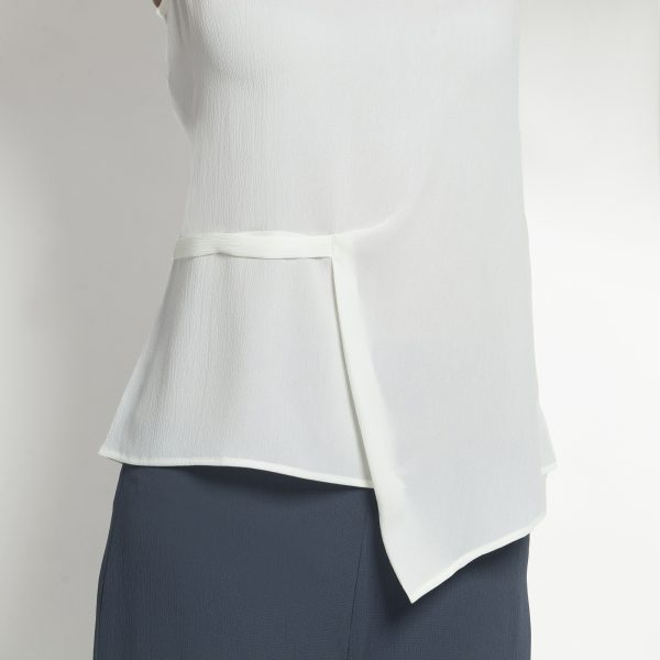 White Crepe Top With Drape At Waist