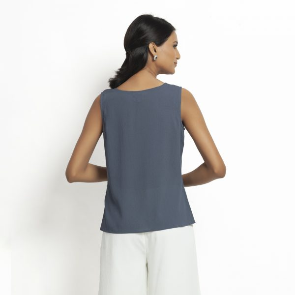 Stone blue Crepe Top With Drape At Waist