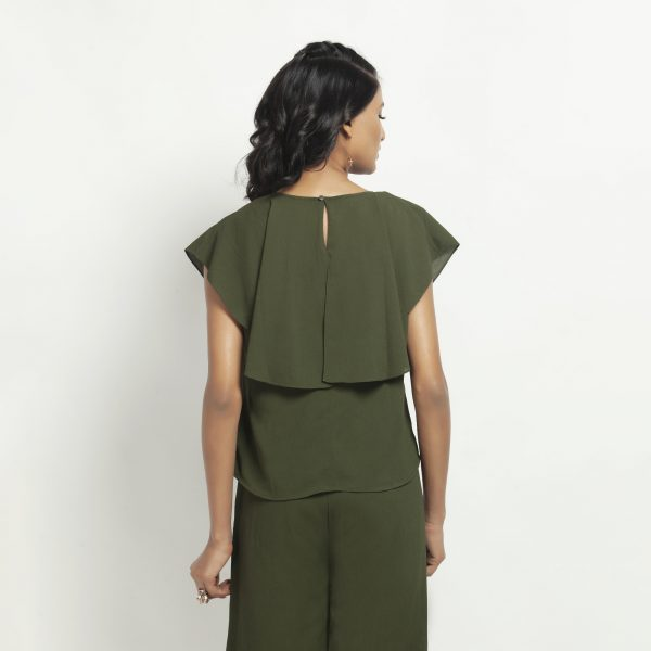 Green Crepe Top With Drape Shoulder
