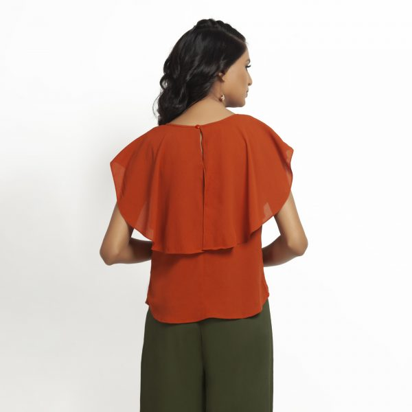 Orange Crepe Top With Drape Shoulder