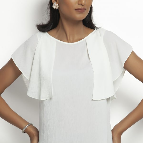 White Crepe Top With Drape Shoulder