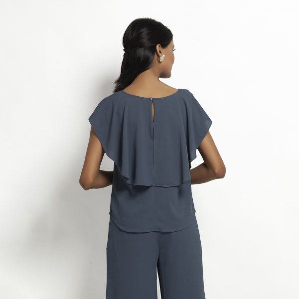Stone Blue Crepe Top With Drape Shoulder