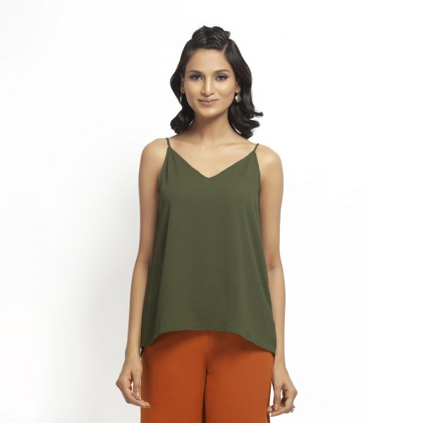 Green Crepe Spaghetti Top