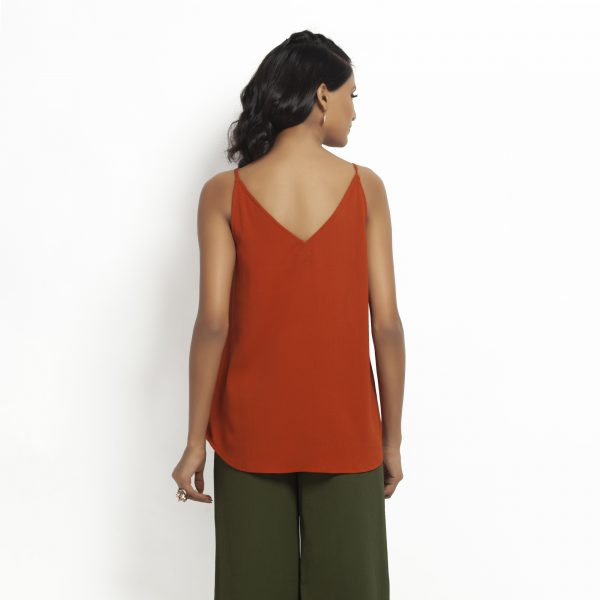 Orange Crepe Spaghetti Top