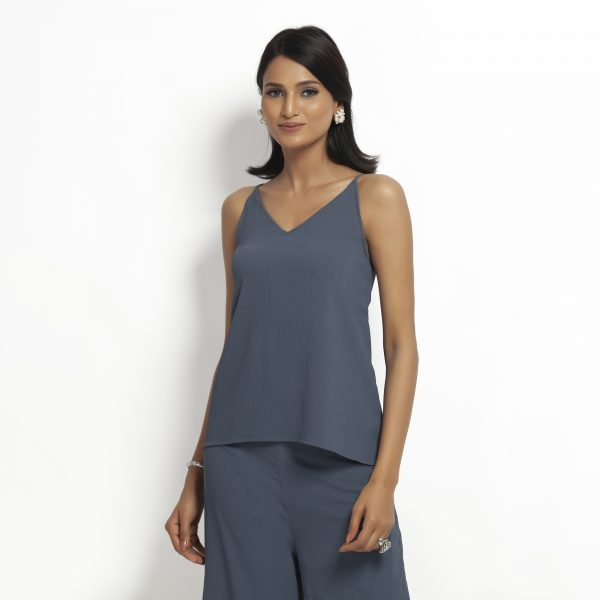 Buy Stone Blue Crepe Spaghetti Top Work Wear For Women