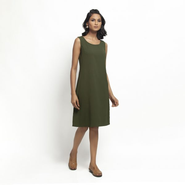 Green Crepe Without Sleeves Dress