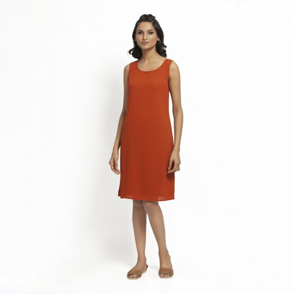 Orange Crepe Without Sleeves Dress