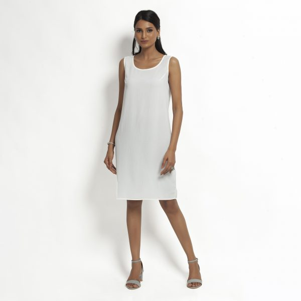 Buy White Crepe Without Sleeves Dress Western Formals For Women